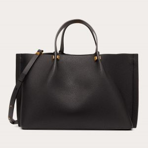 Valentino Black Grainy Calfskin VLogo Escape Medium Shopper Bag