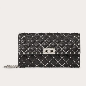 Valentino Black Micro Studs Rockstud Spike.It Crossbody Clutch Bag