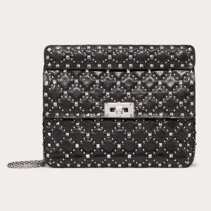 Valentino Black Micro Studs Rockstud Spike.It Medium Bag