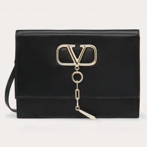 Valentino Black Smooth Calfskin VCase Crossbody Bag