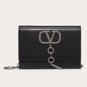 Valentino Black Smooth Calfskin VCase Small Crossbody Bag