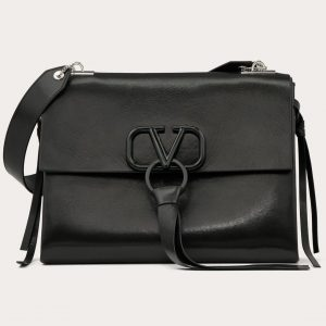 Valentino Black Smooth Calfskin with Lacquered Logo VRing Shoulder Bag