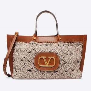 Valentino Brown Cowhide:Macramé VLogo Escape Shopper Bag