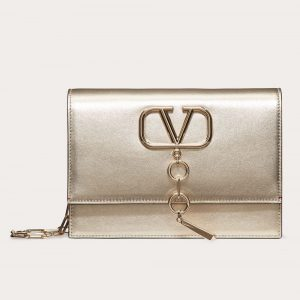 Valentino Platinum Metallic Nappa Small VCase Bag