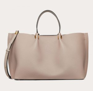 Valentino Poudre Grainy Calfskin VLogo Escape Medium Shopper Bag
