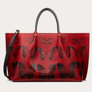 Valentino Red Butterfly Print VLogo Escape Medium Shopper Bag