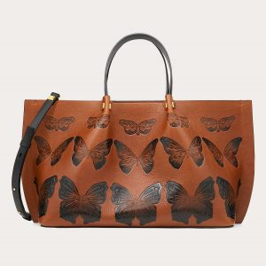 Valentino Tan Butterfly Print VLogo Escape Medium Shopper Bag