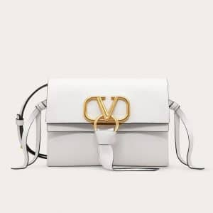 Valentino White Buffalo VRing Small Crossbody Bag