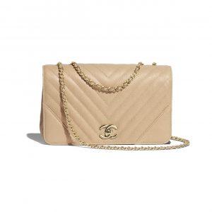 Chanel Beige Chevron Statement Medium Flap Bag