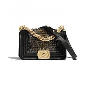 Chanel Black Calfskin:Strass Boy Chanel Small Bag