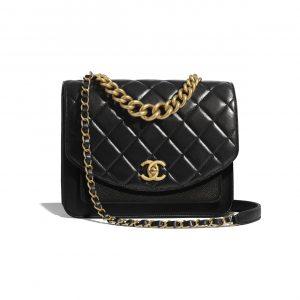 Chanel Black Chain Handle Flap Bag