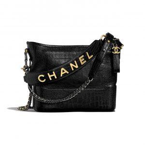 Chanel Black Crocodile Embossed Gabrielle Hobo Bag