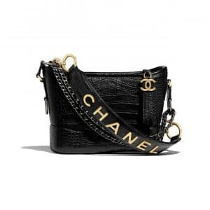Chanel Black Crocodile Embossed Gabrielle Small Hobo Bag