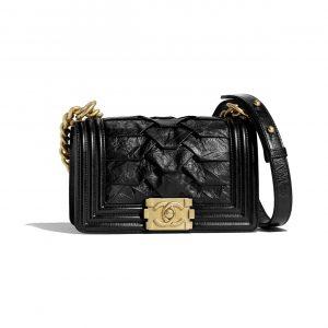 Chanel Black Crumpled Calfskin Boy Chanel Small Bag