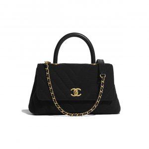 Chanel Black Jersey Mini Coco Handle Bag