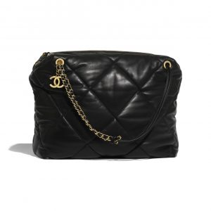 Chanel Black Lambskin Large Bowling Bag