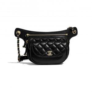Chanel Black Metallic Aged Calfskin Waist Bag