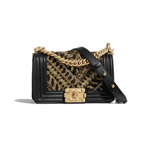 Chanel Black:Gold Calfskin:Cotton Boy Chanel Small Bag