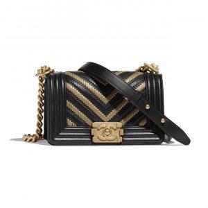 Chanel Black:Gold Chevron Metallic Lambskin:Calfsin Small Boy Chanel Bag