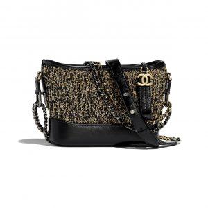 Chanel Black:Gold Cotton:Calfskin Gabrielle Small Hobo Bag