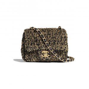 Chanel Black:Gold Cotton:Mixed Fibers Classic Mini Flap Bag