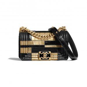 Chanel Black:Gold Crocodile:Python Embossed Calfskin Small Boy Chanel Bag