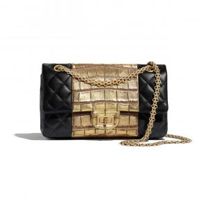 Chanel Black:Gold Lambskin and Crocodile Embossed Calfskin Reissue 2.55 225 Bag 2