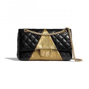 Chanel Black:Gold Lambskin and Crocodile Embossed Calfskin Reissue 2.55 225 Bag
