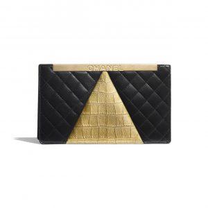 Chanel Black:Gold Lambskin:Crocodile Embossed Calfskin Clutch Bag