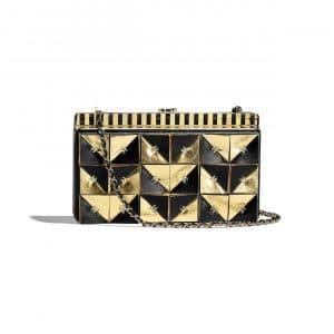 Chanel Black:Gold Lambskin:Metal Clutch Bag