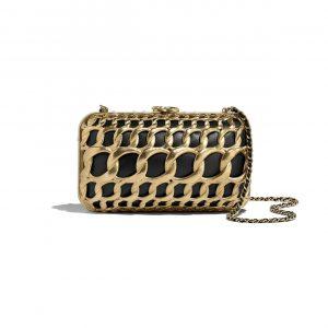 Chanel Black:Gold Lambskin:Metal Evening Bag