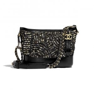 Chanel Black:Gold Sequin:Calfskin Gabrielle Small Hobo Bag