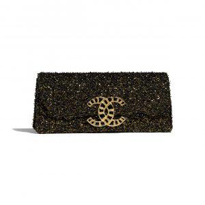 Chanel Black:Gold Tweed Clutch Bag