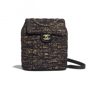 Chanel Black:Gold Tweed Urban Spirit Backpack Bag