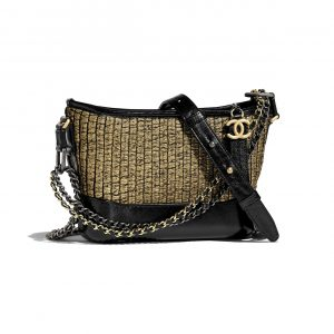 Chanel Black:Gold Tweed:Calfskin Gabrielle Small Hobo Bag