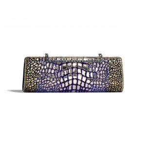 Chanel Black:Gold:Blue Lambskin:Glass Clutch Bag