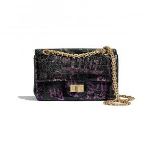 Chanel Black:Pink Crocodile Embossed Reissue 2.55 Mini Flap Bag