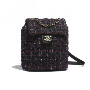 Chanel Black:Red:Gold:Ecru Tweed Urban Spirit Backpack Bag