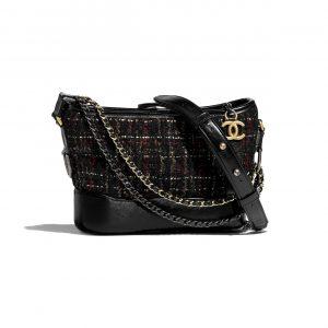 Chanel Black:Red:Gold:Ecru Tweed:Calfskin Gabrielle Small Hobo Bag