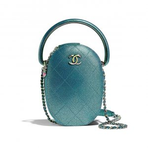 Chanel Blue Grained Metallic Lambskin with Rainbow Metal Camera Case Bag