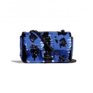 Chanel Blue:Black Sequins Mini Classic Flap Bag