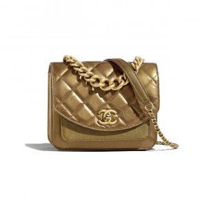 Chanel Bronze Chain Handle Mini Flap Bag