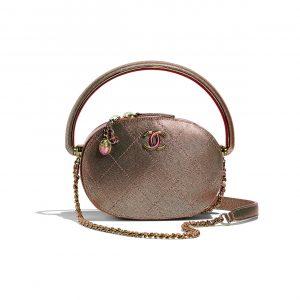 Chanel Copper Grained Metallic Lambskin with Rainbow Metal Mini Camera Case Bag
