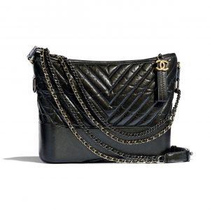 Chanel Dark Gray Aged Calfskin Gabrielle Hobo Bag