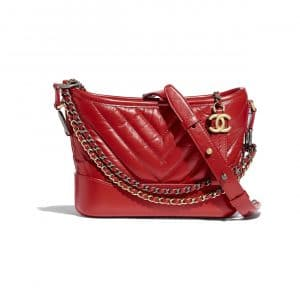 Chanel Dark Red Aged Calfskin Gabrielle Small Hobo Bag