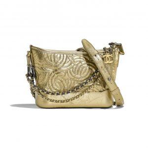 Chanel Gold Calfskin Gabrielle Hobo Small Bag
