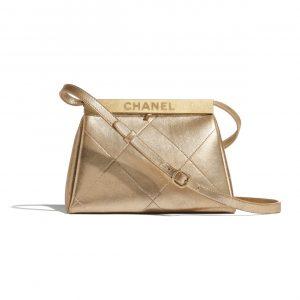 Chanel Gold Calfskin Kiss-Lock Bag
