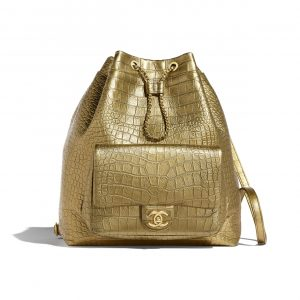 Chanel Gold Crocodile Embossed Calfskin Large Backpack Bag