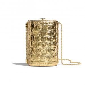 Chanel Gold Metallic Crocodile Embossed Calfskin Evening Bag