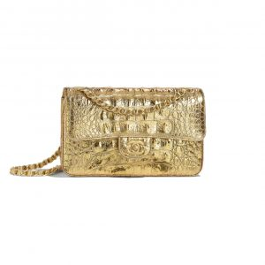 Chanel Gold Metallic Crocodile Embossed Calfskin Small Classic Flap Bag